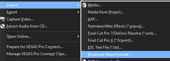 VEGAS Pro 15 - Broadcast Wave format support
