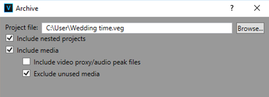 VEGAS Pro 15 - Project archiving