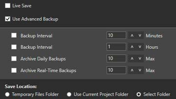 Extensive backup file options