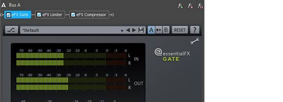 Compressor plug-in in an audio BUS effect chain