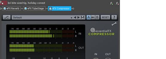Compressor plug-in in an audio EVENT'S effects chain