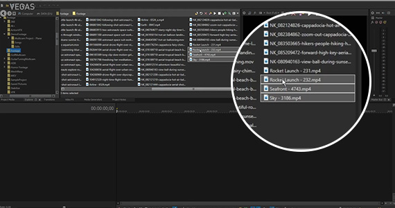 Step 2: Bring clips into the VEGAS Pro Timeline